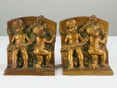 Kronheim & Oldenbusch Cherubs w Rose Garlands Bookends Set, Antique Bronze K&O