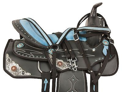 SYNTHETIC WESTERN PLEASURE TRAIL BARREL RACING SHOW HORSE SADDLE TACK 14 15 16