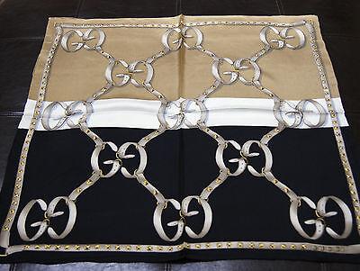 New Women's Authentic Gucci Double Colors Black Beige Silk Medium Scarf