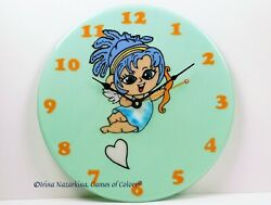 Fused glass wall clock Fairy of Love