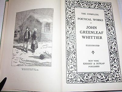 Antique 1892  Complete Poetical Works Of John Greenleaf Whittier  Illustrated
