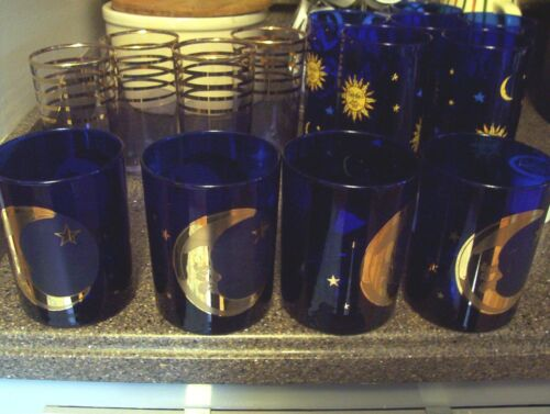Cobalt Blue  MOON and STARS Celestial Culver Made In USA Rock Drink Glasses Exc