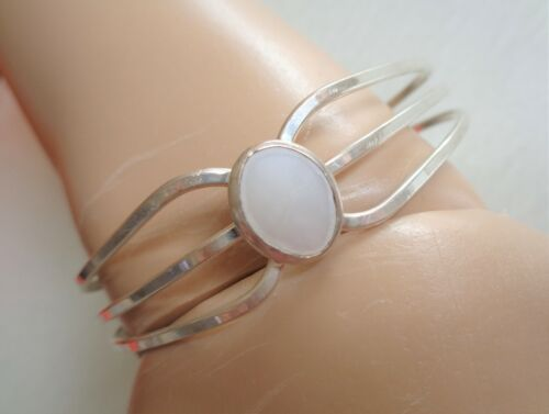 Sterling Stamped, Mother of Pearl Cabochon, Vintage Mexican Cuff Bracelet.