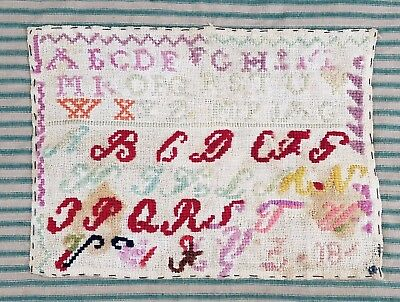 Antique Sampler 1800's Dated Cross Stitch Alphabet Vintage 9.5
