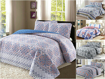 100% Cotton Reversible Quilt Set with Shams- 3Pcs, Full/Queen / King- All season All Cotton Quilts