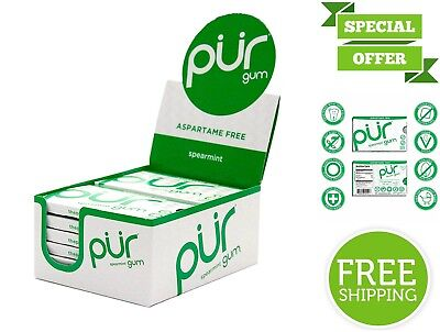 PUR Chewing Gum Aspartame Free Spearmint Soy Nut & Peanut Free Non-GMO 12 Count