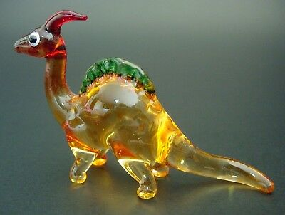 Little Glass DINOSAUR PARASAUROLOPHUS Coloured Glass Ornament Curio Display Gift
