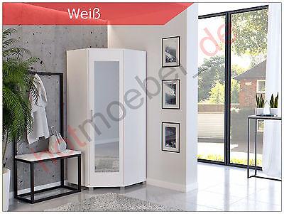 Eckschrank Schrank Schlafzimmer Eckkleiderschrank Spiegeltüren weiß  - Weißer Eckschrank