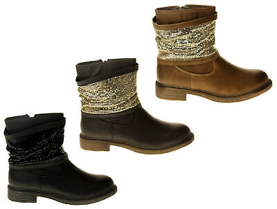 Faux Chainmail (Keddo Womens Ladies Faux Leather Chainmail Warm Comfy Ankle Boots 3 4 5 6 7)