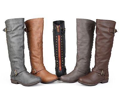 - Journee Collection Women's Wide and Extra-Wide Calf Studded Knee-High Boots New
