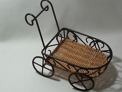 Planter or Doll Holder Chart  Decorative Accessory Straw Metal & Wicker