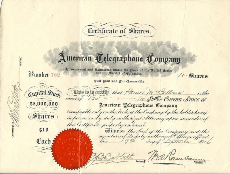 WASHINGTON DC 1906, American Telegraphone Company Stock Certificate