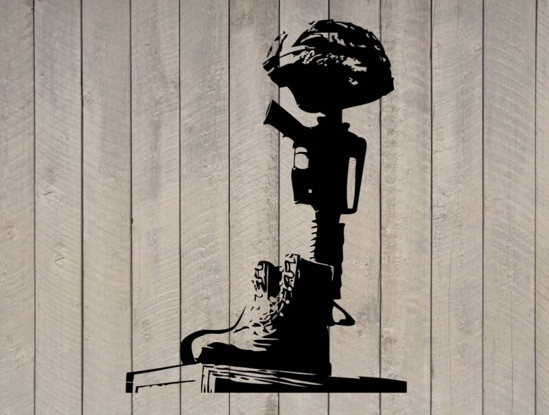 "Helmet Rifle Boots Fallen Soldier Battle Cross Memorial Wall Sticker 29""h x 22""w"