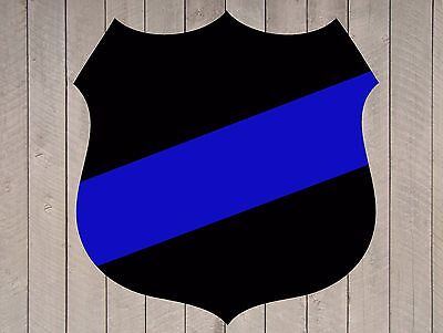 Thin Blue Line Fallen Officer Police Badge Shield Vinyl Sticker Decal 22 inch