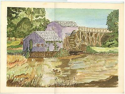 VINTAGE AMERICANA FOLK ART PURPLE MILL WATER WHEEL RIVER DUCK LANDSCAPE PAINTING