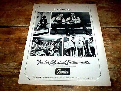 FENDER GUITARS ( BOB DYLAN / BEACH BOYS ) 1966 Vintage Magazine PROMO Ad NM-