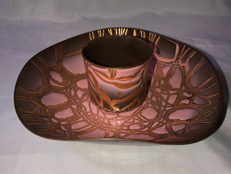 H. Tishler Enamel Copper Dish & Cup Signed Abstract M.C.M Pink & Gold Unusual