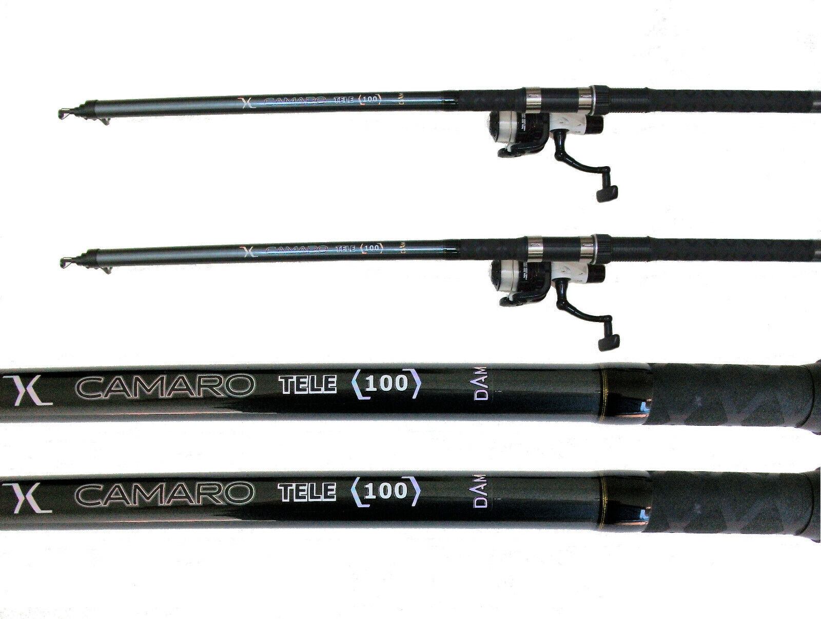 2 DAM Camaro Hecht-Karpfen-Aal Ruten 100 g 300 cm mit 2 DAM Rollen und 0,35 mm