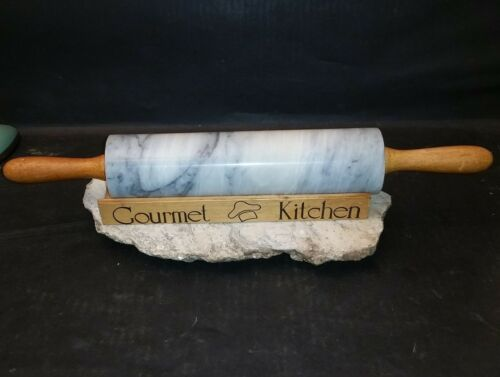 Gourmet Kitchen marble rolling pin w wooden stand  wooden handles