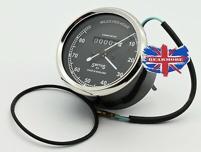 0-80 Mph SMITHS SPEEDOMETER BIKE 80mm DIAMETER BODY REPLICA INCLUDE O-RING BULB