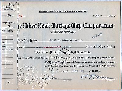 Pikes Peak Cottage City Corporation Stock Certificate Colorado
