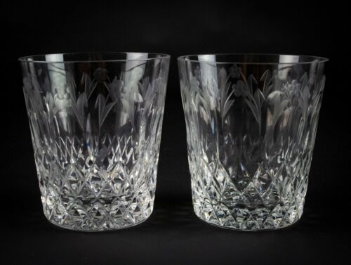 Rogaska Queen Double Old Fashioned Glasses 2pc Set, Cut Diamonds Flowers & Ovals