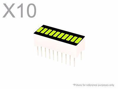 10 Pcs Yellow Green Led 10-segment Bargraph Array Display New Bright Bar Graph