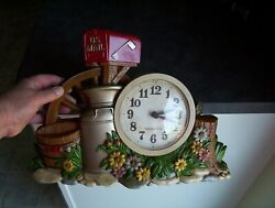 Burwood Vintage Wall Clock Plastic Country Mail box Wagon Wheel Cream Can 1983