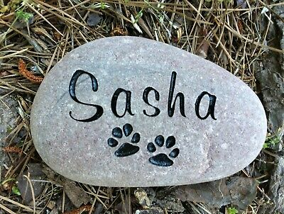 Pet Memorial Stone Cat or Dog custom engraved 4 to 5 in River Stone