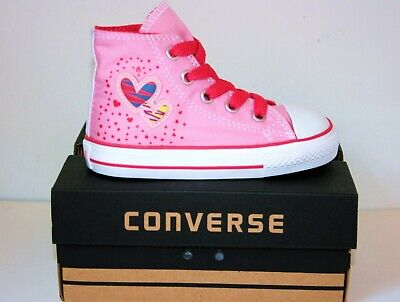 Baby Girls Converse All Star Pink Hearts High Top Trainers Boots Size...