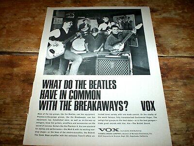 VOX beatle amp / guitars ( THE BREAKAWAYS ) 1966 Vintage U.S. PROMO Ad NM-
