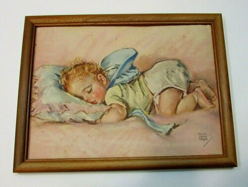 Old 1941 Sleeping Baby Weather Forecasting Framed Prints Lewis Anker FREE S/H