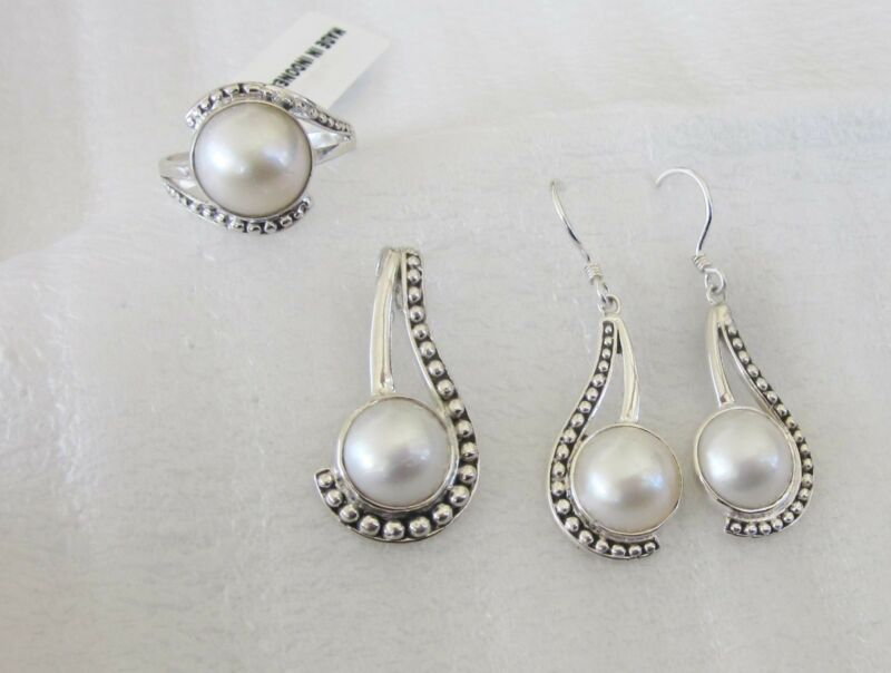 Mabe Ring, Pendant and Earring Set, Sterling Silver, Ring sz 10