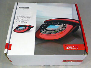 iDECT-Carrera-Classic-Red-Corded-Home-Telephone-Phone-New