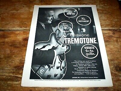 EPIPHONE GUITARS / TREMOTONE ( VIBRATO BAR ) 1962 Vintage Magazine PROMO Ad NM-
