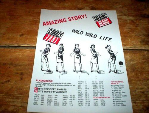 TALKING HEADS 1986 U.S. industry magazine Ad ( TRUE STORIES ) wild wild life NM-