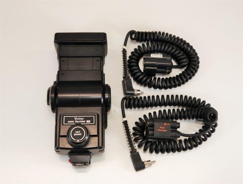 Vivitar 285 Zoom Thyristor Vari Power Flash + Quantum AA QB1 MG2 Module Cables