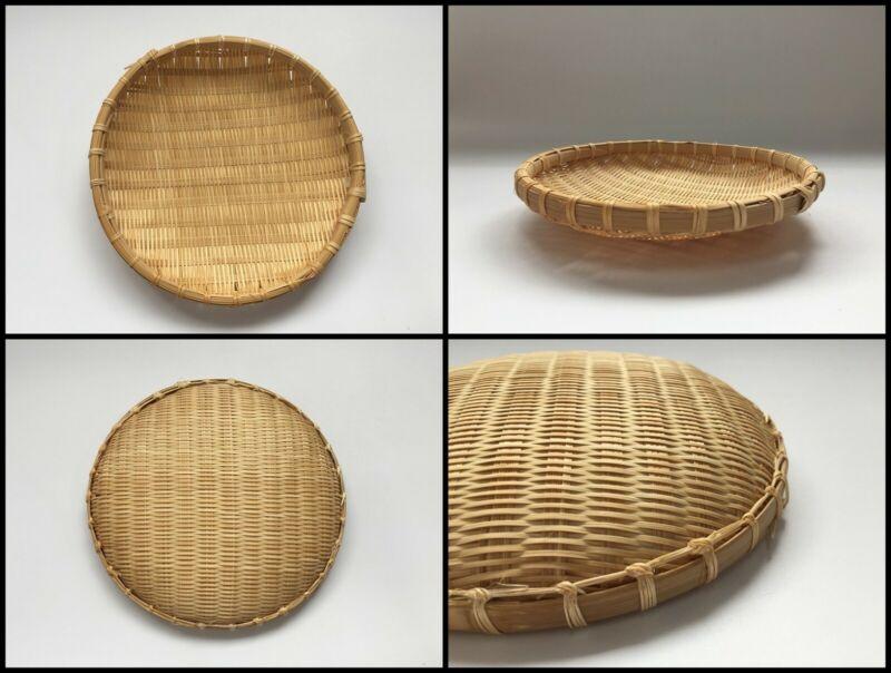 Japanese Bamboo Basket Takekago Vintage Cage Sun-Dried Round Brown Q976