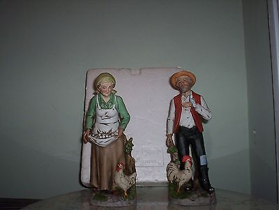 VINTAGE HOME INTERIORS OLD MAN & WOMAN PORCELAIN FIGURINES #1434 COLLECTABLE