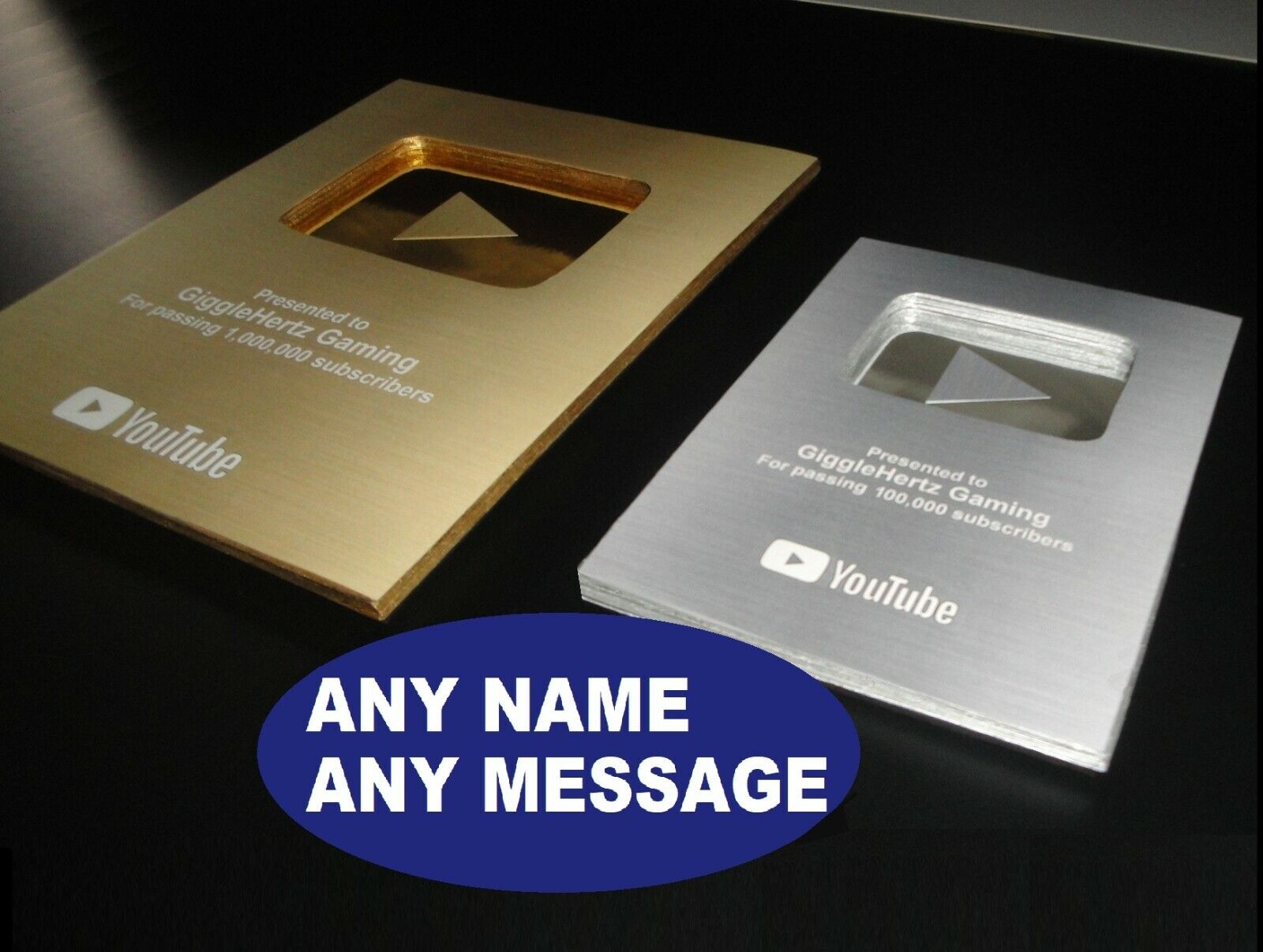 fake replica youtube play button award gold