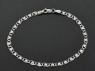 White Gold Heart Link ( 14k white Solid Gold mariner heart Link Bracelet 7'' 4mm. 2.6gr )