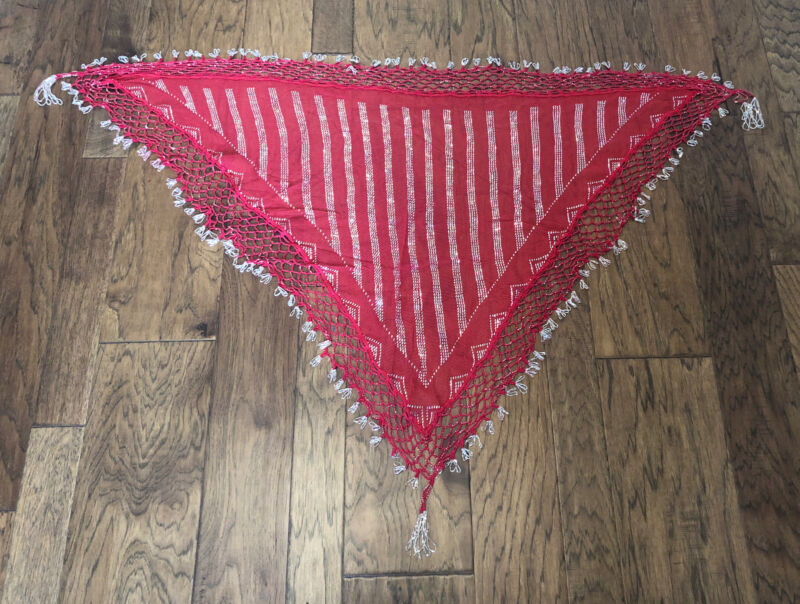 Shawl Hip Scarf Assuit Tulle Belly dance tribal Ethnic Egypt Silver Strips