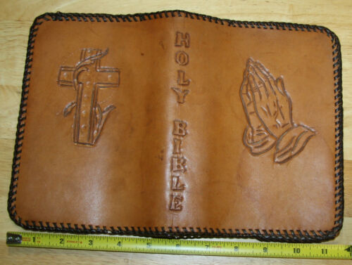Beautiful antique vintage Hand tooled Leather Bible Cover excellent!!