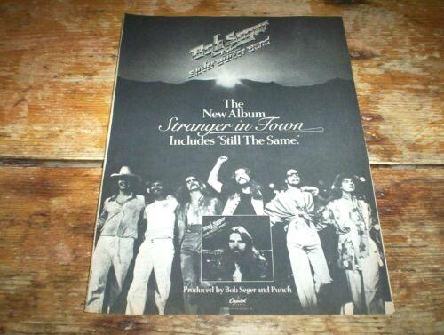 BOB SEGER ( STRANGER IN TOWN ) 1978 Vintage CAPITOL Records magazine PROMO Ad NM