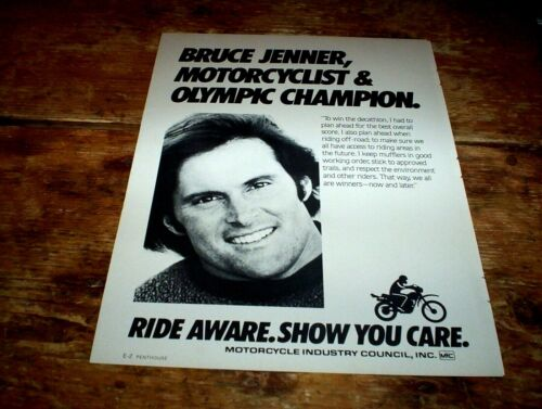 BRUCE JENNER olympic champion ( MOTORCYCLE INDUSTRY COUNCIL ) 1985 PROMO Ad NM-