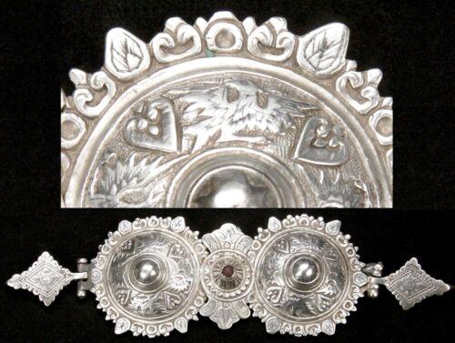 Antique 19th Century Greek 800 Silver Niello Belt Buckle Ottoman Era Greece Old
