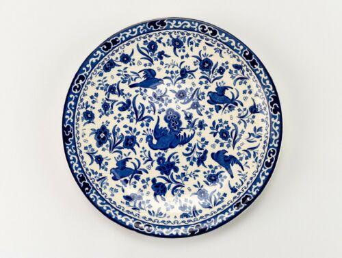 "Burleigh Regal Peacock Coupe Plate Vintage Burgess & Leigh Blue Bird 9"" Luncheon"