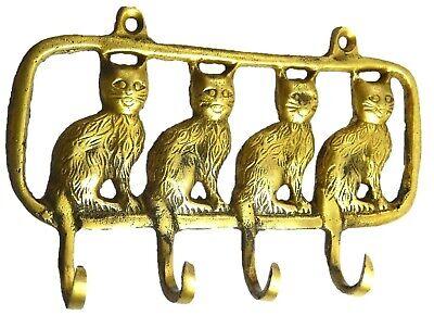 Cat Shape Handmade Brass Cup Key Cloth Hanger Vintage Style Wall decor Hook