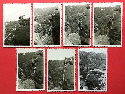 7 x Foto Sächsische Schweiz Kletterei Bergsteiger an der Adventsspitze ( 8499