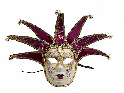 Mask Venice Volto Jolly Pink Fushia Gold 7 Spikes for Masquerade 1421 VG2